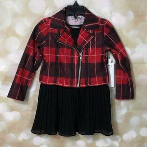 NWT Pippa & Julie Black Dress and Plaid Jacket Set